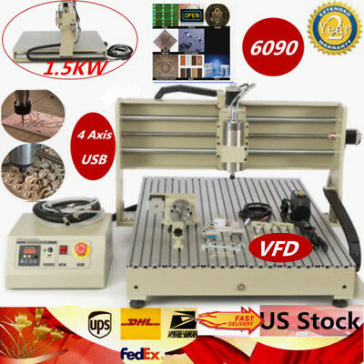 4 Axis 6090 110220v Usb 1.5kw Vfd Cnc Router Engraving Milling Machine