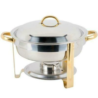 Choice Deluxe 4 Qt. Round Gold Accent Chafer Stainless Steel Chafing Dish Set