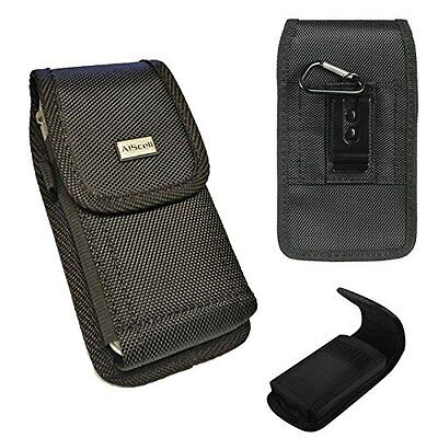 Rugged Black Nylon Pouch Canvas Case 2 Way Belt Loop Holster+Hook For HTC Bolt
