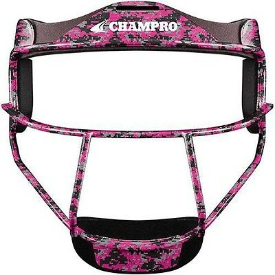 New CHAMPRO The Grill Softball Fielder Mask Wide Vision Pink Camo Youth or (Softball Fielders Mask)