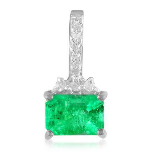 Emerald diamond pendant ebay aloadofball Choice Image
