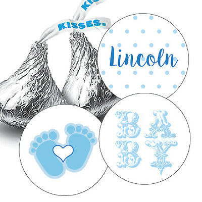 108 Baby Boy Shower Hershey Kiss Stickers Party Favors Decoration Blue](Blue Baby Shower Favors)