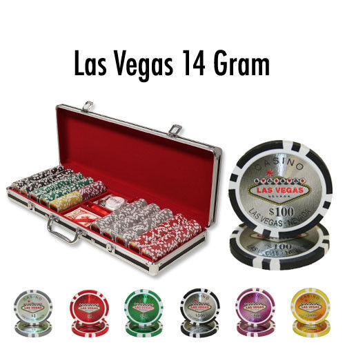 NEW 500 Pc Las Vegas 14 Gram Clay Poker Chips Set with Black Red Aluminum Case