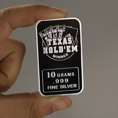 Texas Hold'em 10 Grams .999 Fine Silver Art Bullion Bar / oz TSB045 1