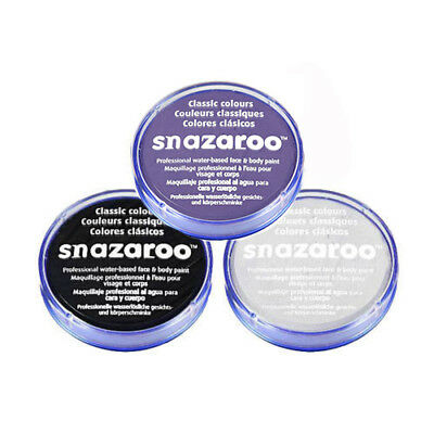 18ml SNAZAROO FACE & BODY PAINT SET (BLACK, WHITE, LILAC) DAY OF DEAD HALLOWEEN (White Body Paint Halloween)