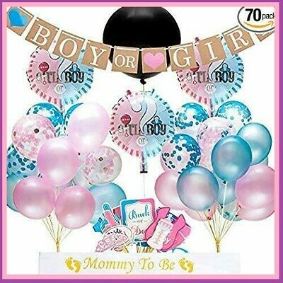 70 pc BABY GENDER REVEAL Complete Party Supplies Decorations Set! ](70 Decorations)