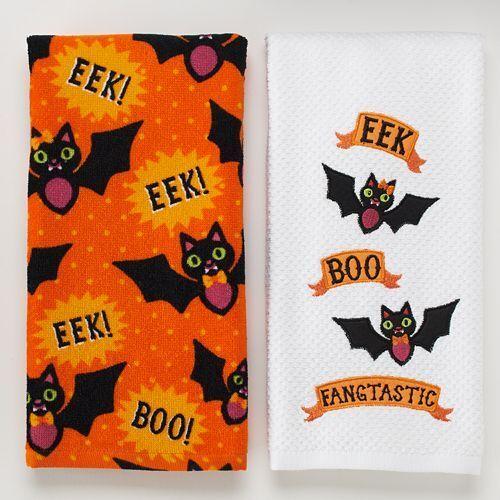 2 Halloween Midnight Market Kitchen Dish Towels Black Bats 🦇EEK BOO Decor 🎃👻