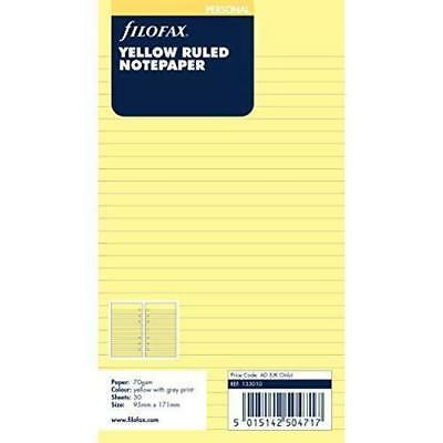 Personal Ruled Notepaper - Filofax Personal Size Yellow Ruled Notepaper- 30 sheets - 133010