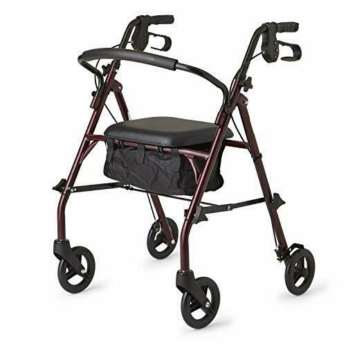Healthcare Direct 100RA Steel Rollator Walker w/350 lb Weight Capacity, Burgundy