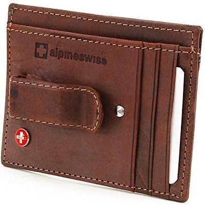 Alpine Swiss Men's Leather Slim And Thin Money Clip Front Pocket Wallet - Personalized Money Clip