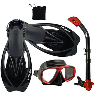 Adult-Snorkeling-Dive-Gear-Mask-Dry-Snorkel-Fins-Sets