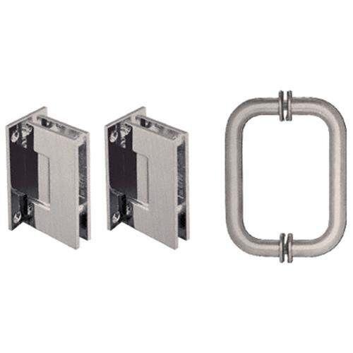 CRL Brushed Nickel Geneva Shower Pull and Hinge Set Frameless Glass Door