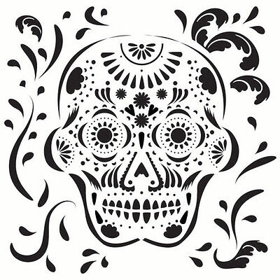 SUGAR SKULL STENCIL TEMPLATE SCROLL TEMPLATES CRAFT PATTERN STENCILS NEW BY TCW](Sugar Skull Stencil)