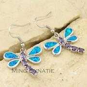 Blue Fire Opal Earrings