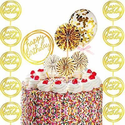 Happy Birthday Cake Torte Topper Konfetti Ballon Tortendeko Regenbogen Geburt...