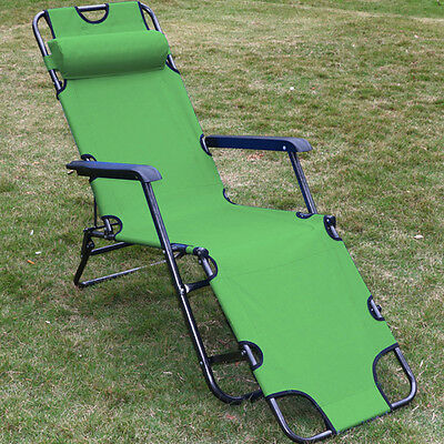 new metal folding chaise lounge chair patio outdoor pool beach lawn recliner us ebay. Black Bedroom Furniture Sets. Home Design Ideas