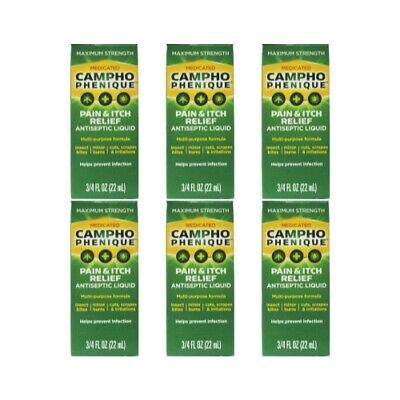 6 Pack - Campho-Phenique Pain Relieving Antiseptic Liquid, 0.75oz Each Pain Relieving Antiseptic
