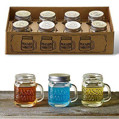 Mason Jar Shot Glasses with Lids Set of 8 Mini Shooter Glass Handles 2 Ounces