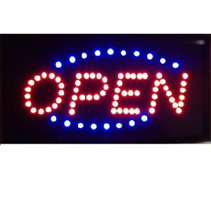 motion running led business open sign on off switch bright light neon. Black Bedroom Furniture Sets. Home Design Ideas