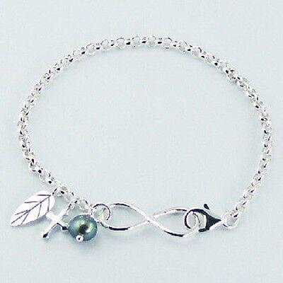 Silver bracelet 925 sterling Infinity symbol & Cross , Leaf Charms Rollo Chain