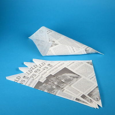 1000 Snack Pommestüten Fish & Chips Mandeln Spitztüten Zeitung 190mm fettdicht