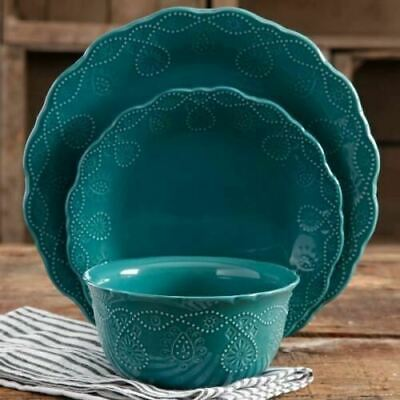 Pioneer Woman 12-Pc Dinnerware Set, Teal Stoneware Dishes Plates Service For 4 - Teal Dinnerware