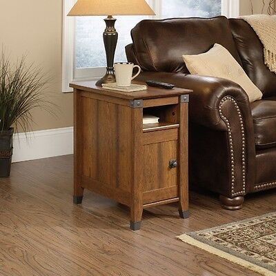Small Side Table End Narrow Rustic Modern Wooden Decor Living Room Furniture  ()