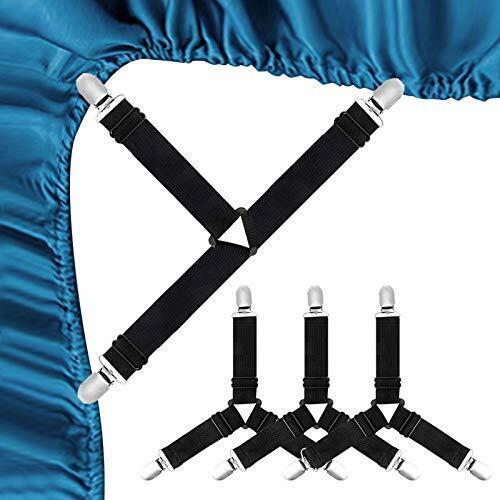 4 pcs/set Adjustable Bed Mattress Sheet Fastener Straps Clips Grippers Suspender