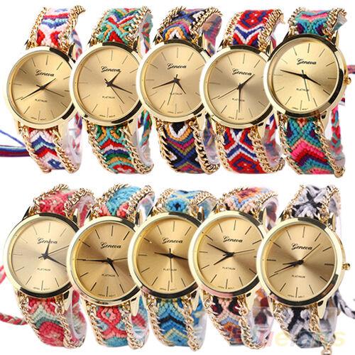 Women New Fashion Geneva Ethnic Braided Analog Quartz Chain Bracelet Wrist Watch