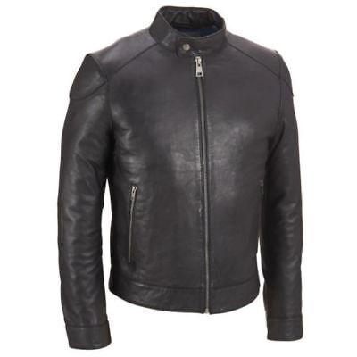 Men's Real Lambskin Leather Jacket Black Slim fit Motorcycle Biker jacket coat Wholesale Leather Biker Jacket
