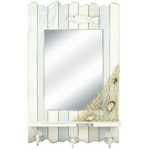 Nautical Beach Mirror with 3 Hooks and Shelf, 53cm