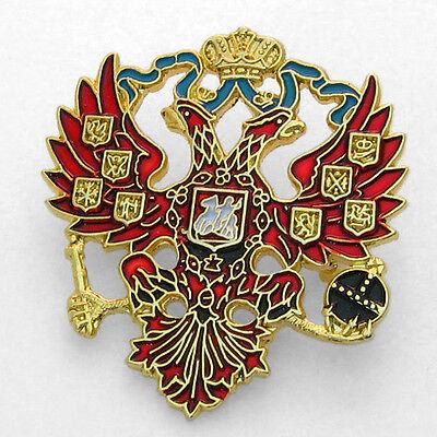 Lapel Pin - Russian Double Headed Eagle - Imperial Romanov Czar -Colorful Enamel