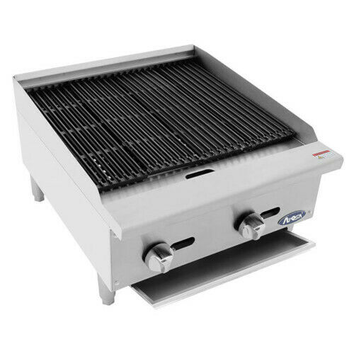 """Atosa Atcb-24 24"""" Heavy Duty Countertop Gas Charbroiler With Lava Rocks"""