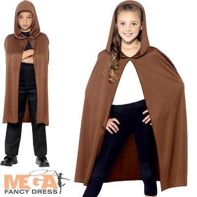 Brown Hooded Cape Kids Fancy Dress Fairy Tale Boys Girls Child Costume Accessory