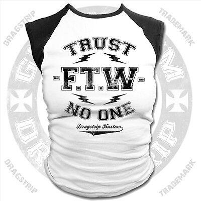 Dragstrip Clothing Girl Baseball top Trust No One biker Lucky 13 rockabilly top