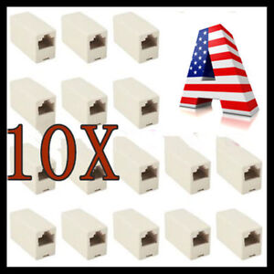 10x RJ45 Cat5e Coupler Connector Extension Broadband Ethernet Network Cable USA