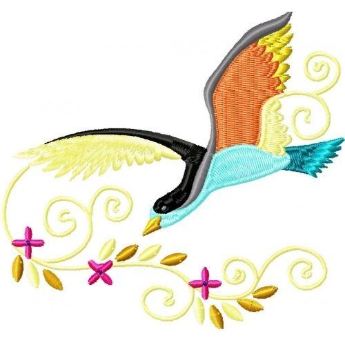 Embroidered Sweatshirt - Beautiful Birds PE10