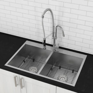 NEW Luxury Stainless Steel Double Bowl Kitchen Sink (Top Mount)