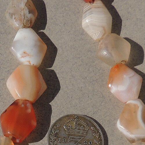 18 small diamond shaped tabular ancient agate african stone beads mali #3941