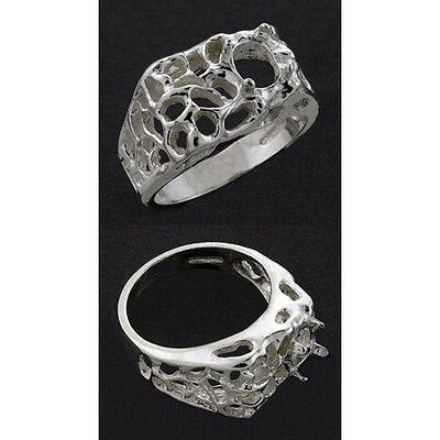 8x6mm Oval Ring Setting ((8x6mm) Oval Men's Designer Sterling .925 Ring Setting (Ring Sizes 9, 10, 11) )
