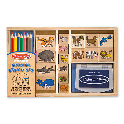Melissa and Doug * Wooden Animal Stamp Set * NEW arts & craft activity toy
