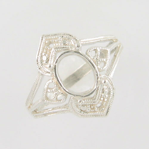 PRE-NOTCHED 8X6 OVAL DESIGNER SOLITAIRE RING .925 STERLING SILVER CR1917SS