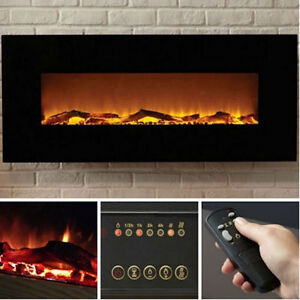 """50"""" Wall Hung Electric Fireplace with Black Glass"""