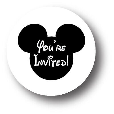 30 Mickey Mouse Birthday Party Invitation Stickers - You're Invited! - Mickey Mouse Birthday Party Invitations