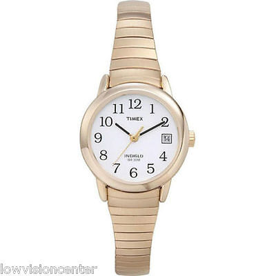Timex Ladies Indiglo Gold Tone Watch With Date Low Vision