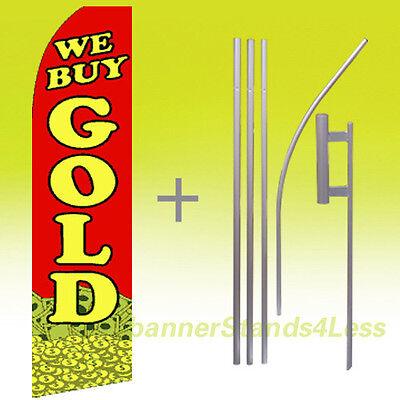 We Buy Gold Swooper Flag Kit Feather Flutter Banner Sign 15 - Rf