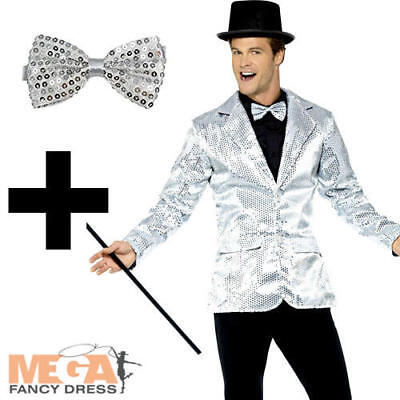 1920s Circus Costume (Sequin Silver Jacket + Tie Mens 1920s Fancy Dress Adults Circus Cabaret)