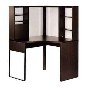 IKEA MICKE Corner Work Station Desk with Hutch (Black-brown)