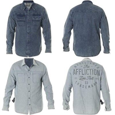 Affliction Double Sided Pin Reversible Denim Shirt Mens M (2 Looks in 1) NWT -