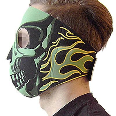Neoprenmaske fullface Skull Totenkopf grün Bike Motor Paintball outdoor Schutz (Grün Full Face Maske)